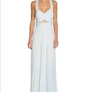 AQUA Blue Pleated Cutout Gown